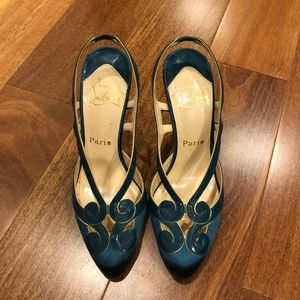 Christian Louboutin Satin turquoise heels, sz 38.5
